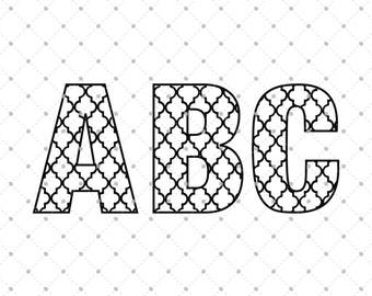 Quatrefoil Font SVG Cut Files, Digital Font, Font Files for Cricut, Silhouette and other Vinyl Cutters, svg files,