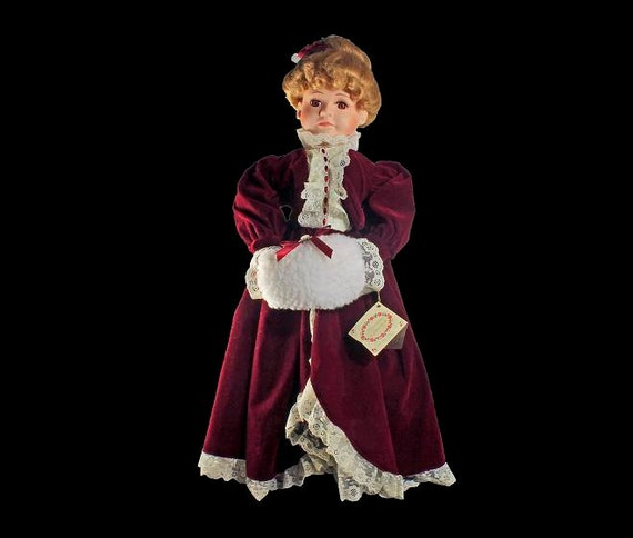 McField Fashion Porcelain Doll, Treasure Collection, Limited Edition, Holiday Doll,  Collectible Doll, Victorian, Brown  Eyed, Auburn Hair