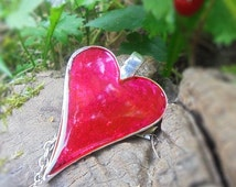 Heart Pendant Hot Pink Statement Necklace Jewelry Gift for Her Idea Bold Jewellry Vibrant neon pink color jewelry Punk heart  rojillo РЮ10