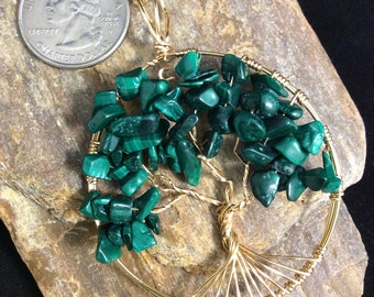 Tree of Life Pendant in Malachite, Green Tree of Life Necklace, Malachite Tree of Life,  Wire Tree of Life, Bronze Tree of Life Pendant