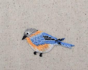 Blue Bird - Bluebird - Facing Left - Iron on Applique - Embroidered Patch - 1123151-A