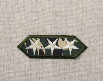 Military - Three Stars - Camo - Iron on Applique - Embroidered Patch - 620731A