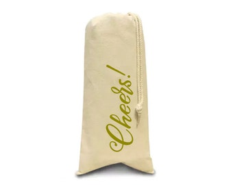 Cheers! canvas Wine bag | Gift Bag | Bottle Tote | Hostess Gift |