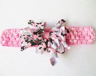 Pink Baby Headband, Pink Toddler Headband, Pink Camo Headband, Pink Corker Headband, Baby Toddler Gift