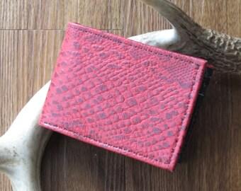 Red Leather Bi-Fold Wallet