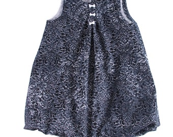 "Bubble Pinafore dress in grey/black denim/ corduroy cotton, with ""flowers"""