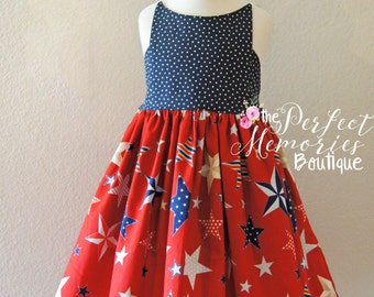 July 4th Dress | Patriotic Dress | Girl Dress | USA Dress | American Dress | Star Dress |  Red, White, and Blue | First 4th of July