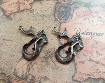 5pcs 30x40mm Mermaid Pendants Handmade Jewelry Necklace Accessories A