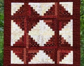 Log Cabin Patchwork Quilted Wall Hanging, Handmade Table Topper Centerpiece, Red and White Wall Décor, Machine Pieced and Quilted.