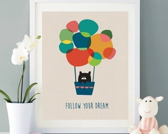 Follow your dream art,abstract ,Hot air balloon modern art, nursery art, decor,home decor,black bear print wall decor printable #10