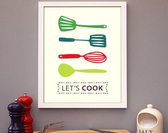 Spatula Print, Spatula Poster, Kitchen Poster, Mid Century Art, Kitchen Print, Kitchen Art, Retro - Spatula Lets cook Kitchen Quote