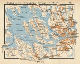 1952 Stockholm Sweden Vintage Map