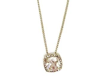 Sale! Cubic Zirconia Necklace- CZ Necklace- Pave Halo CZ Necklace, Pave Halo Cubic Zirconia 4 Caret Necklace, Silver Chain