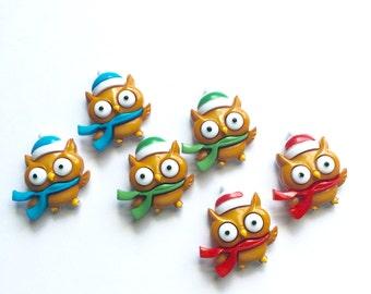 Owl Earrings, Cute Owl Stud Earrings, Red Owl Studs, Blue Owl Studs, Green Owl Studs