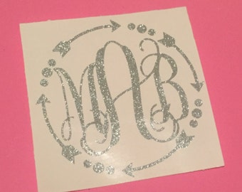 Glitter Monogram Decal with Arrow Frame // Yeti Decal / Corkcicle Decal / Rtic Decal / Orca Decal / Sic Decal/ Car Decal / Laptop Decal