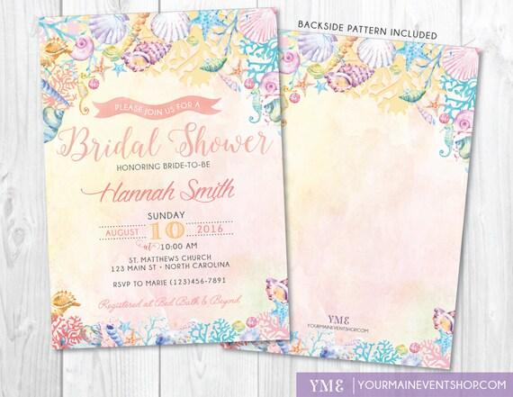 Beach Bridal Shower Invitation • Watercolor Ocean Coral Seashell Invite • Nautical Summer Boho Wedding Printable
