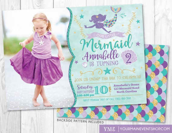 Mermaid Birthday Invitation • Mermaid Invite & Photo • Under The Sea Party • Teal Purple Gold • Summer Pool Beach Party Invitation Printable