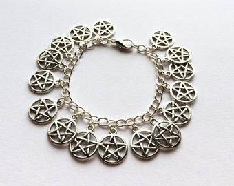 Gothic Pentacle Charm Bracelet On Silver Plated Chain