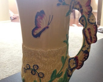 English Flower & Butterfly Vase