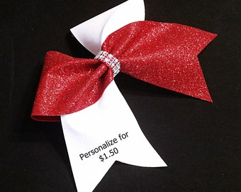 Red glitter Cheer bow, Cheer bow, white glitter cheer bow, personalized cheer bow, large bow, cheerleading bow, cheer bows, softball bow