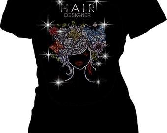 Bling Bling Hair Designer Rhinestones T-shirt Salon Wear Short sleeve S~3XL