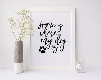 "PRINTABLE Art ""Home Is Where My Dog Is"" Dog Paw Art Print Dog Art Print Home Decor Apartment Decor Pet Lovers Art Print Dorm Decor"