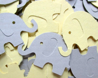 125-Yellow and grey elephant confetti-punched elephants-baby shower decorations boy-paper elephants-scrapbooking die cuts-hand punched-cute