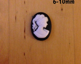 6mm-8mm-10mm black and white lady cameo plugs for stretched ears