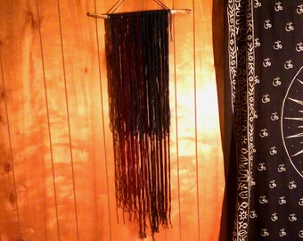 Wood and Yarn Lengthy Wall Hanging