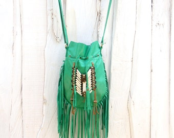Boho leather bag, green fringed leather handbag, boho purse