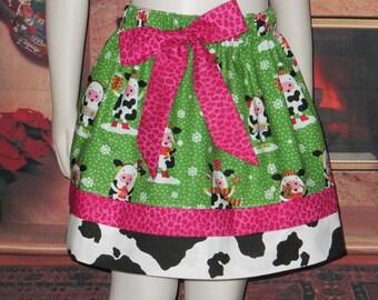 Girls Christmas Skirt, Cow Skirt, Cow Print, Farm, Animal, School, Knee Length, Pink, Green, Handmade,  Baby 6 12 18, Toddler 2T 3T 4T 5 6 7
