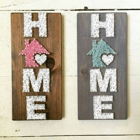 Small home string art home is where the heart is home decor for Hearts decorations home