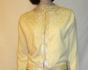 1950's White Beaded and Sequined Evening Sweater/Cardigan