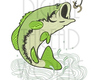 Bass Fish Jumping at a Worm Embroidery Design for 4x4, 5x7, and 6x10 inch Hoops. Big Mouth Bass, Instant Download, Sports Fishing