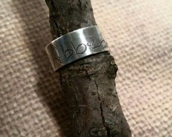 HANDWRITING wide RING-7mm wide