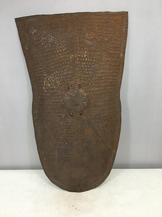 African Shield Metal African Kirdi Tribal Shield Handmade Forged Metal Fighting Men Tribal Warrior Shield