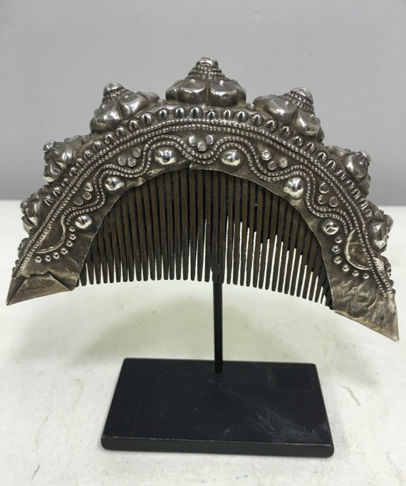 Comb Old Silver Sumtra Wedding  Silver Flower Comb Handmade Ceremony Flower Wedding Comb Mother Daughter Silver Unique Statement