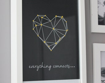 Everything connects. Gray and yellow graphic.