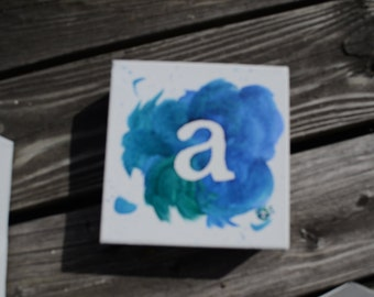"Square Single Letter ""a"" Acrylic Painting 6x6"