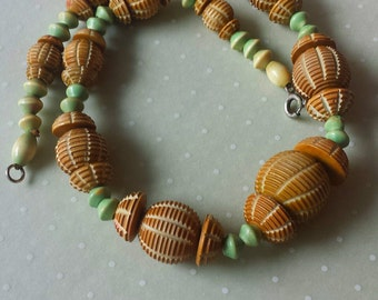 Vintage Celluloid Necklace Plastic Necklace Carved Beads 1940s