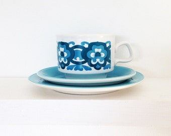 1970s retro floral cup and saucer set - Staffordshire pottery