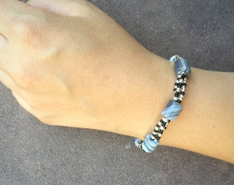 Blue, Black and Silver Beaded Bracelet