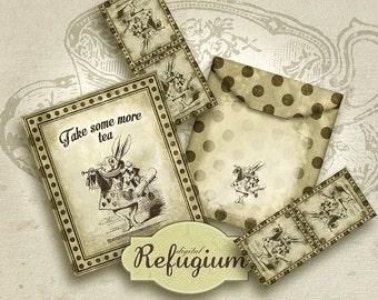 printable Tea Bag Envelope, printable  Alice in Wonderland, Digital Collage Sheet, take some more tea/  INSTANT DOWNLOAD