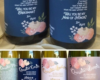 bridesmaids ask gift best wine label blush custom