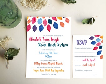 Quirky DIY Printable Wedding Invitation Set