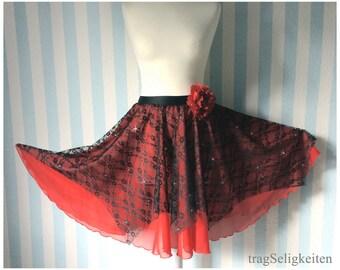 Ballet dance skirt, full circle skirt,  black lace, red chiffon, dance recital, ballet costume, ballet skirt, character dance, Spanish style