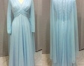 Vintage 1960's Powder Blue Dress with Flowing Cape by Mike Benet Formals