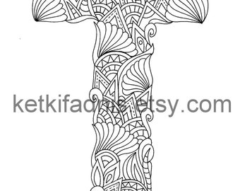 Coloring Letter T Etsy Coloring Pages Letter T