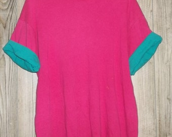 Vintage 2X T Shirt Roll Up Sleeve Plus Size Hot Pink Green Roll Sleeve 90s Double Shirt Plus Retro Watermelon Throw Back Illusion Shirt