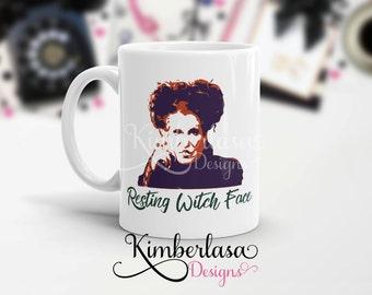 hocus pocus mug | resting witch face mug | witch mug | halloween mug | sanderson sister | winifred | winnie | sarcastic mug | funny mug